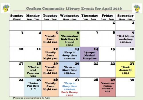 April Calendar Colour